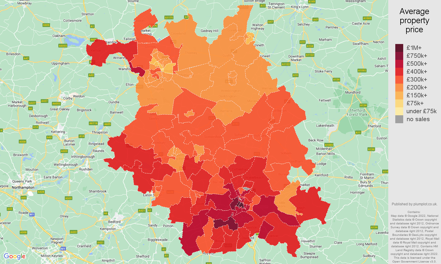 Cambridgeshire house prices map