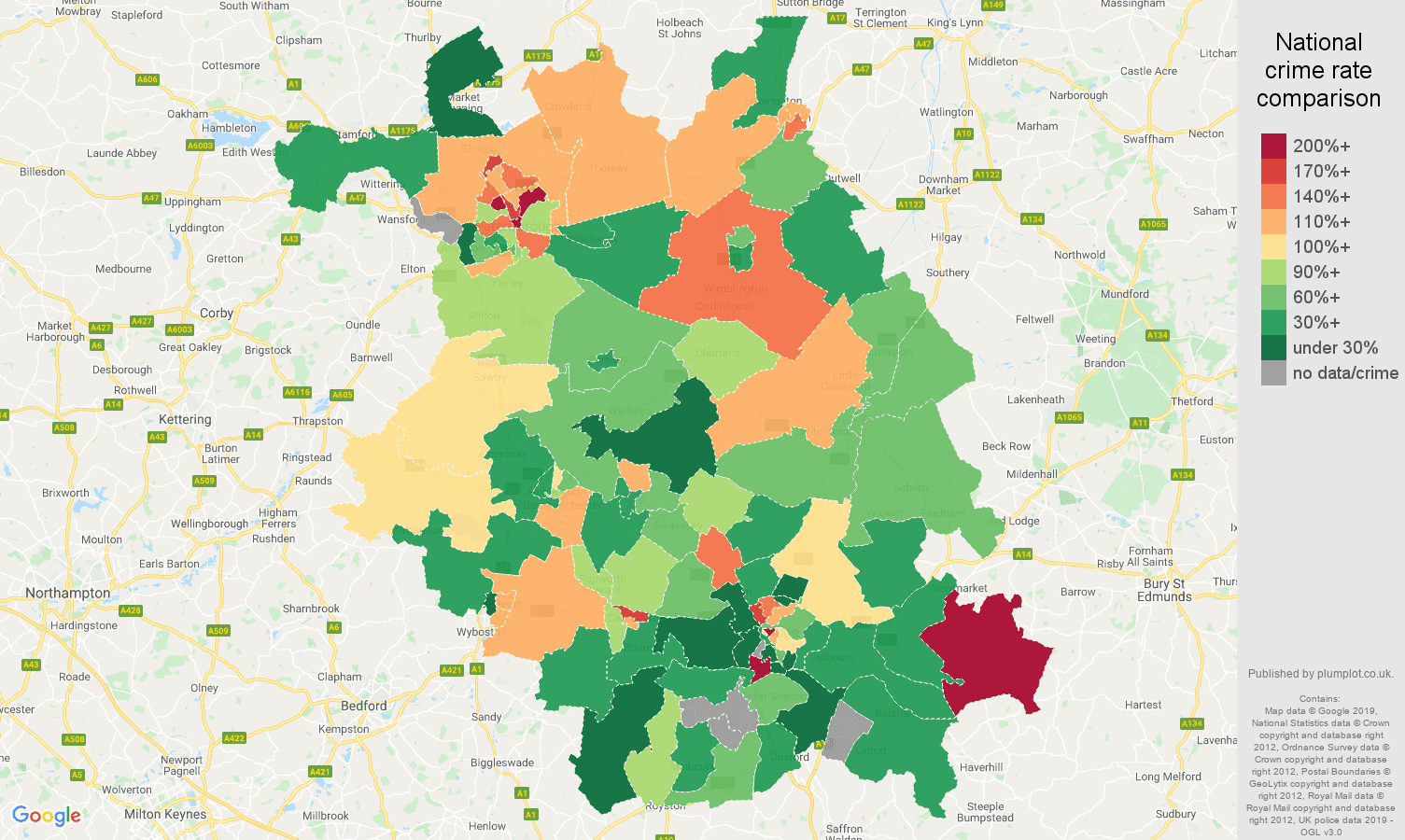 Cambridgeshire other crime rate comparison map