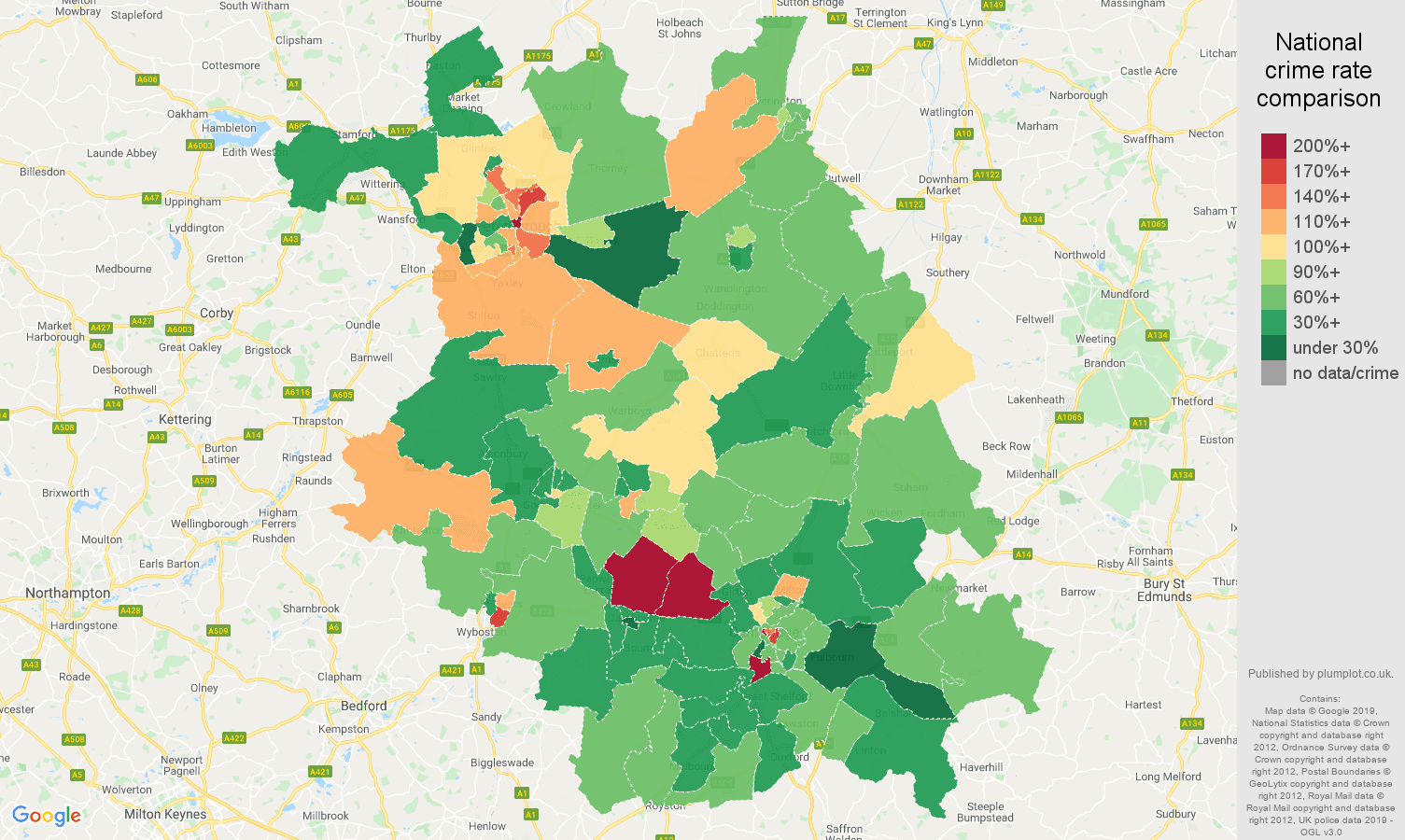 Cambridgeshire other theft crime rate comparison map