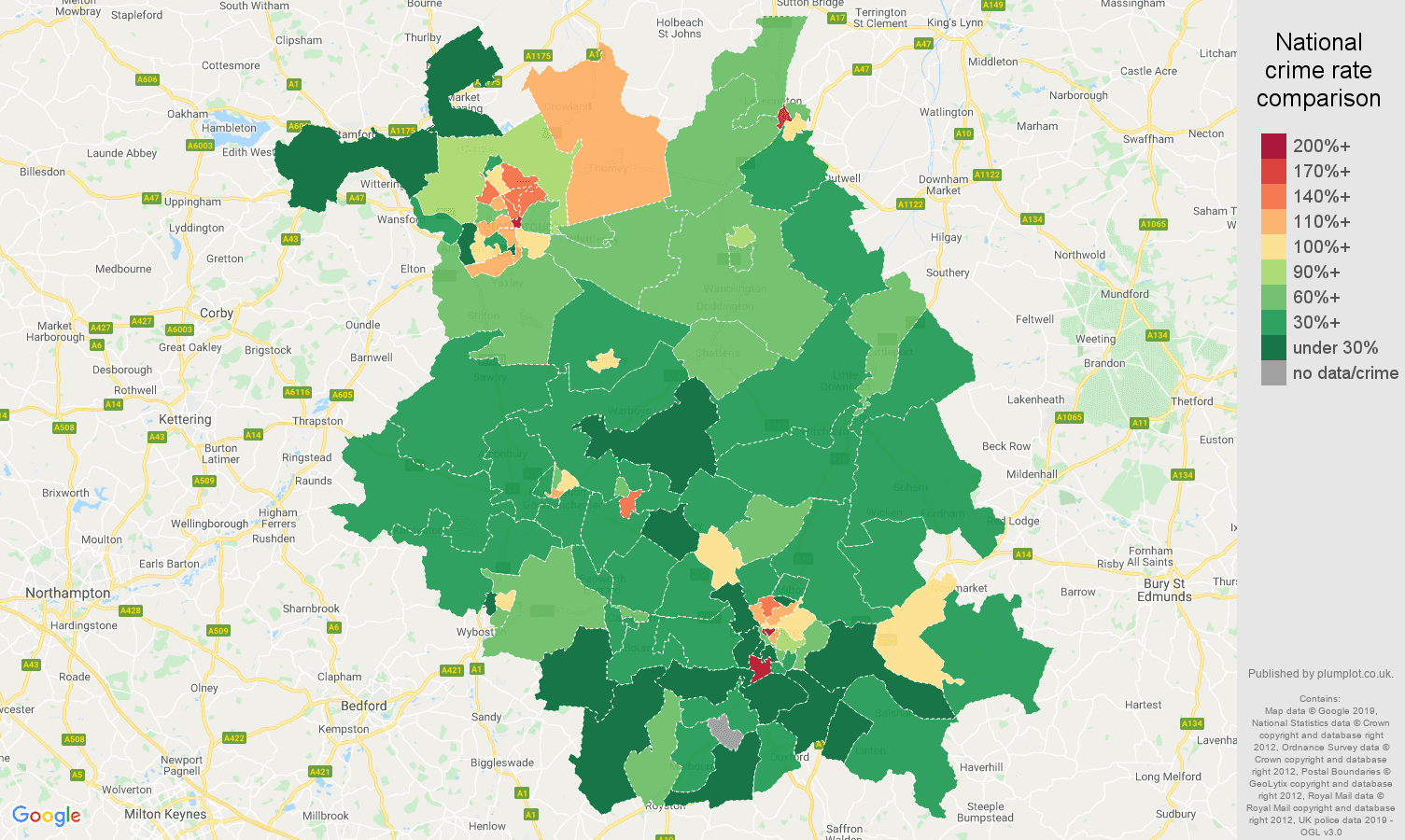 Cambridgeshire public order crime rate comparison map