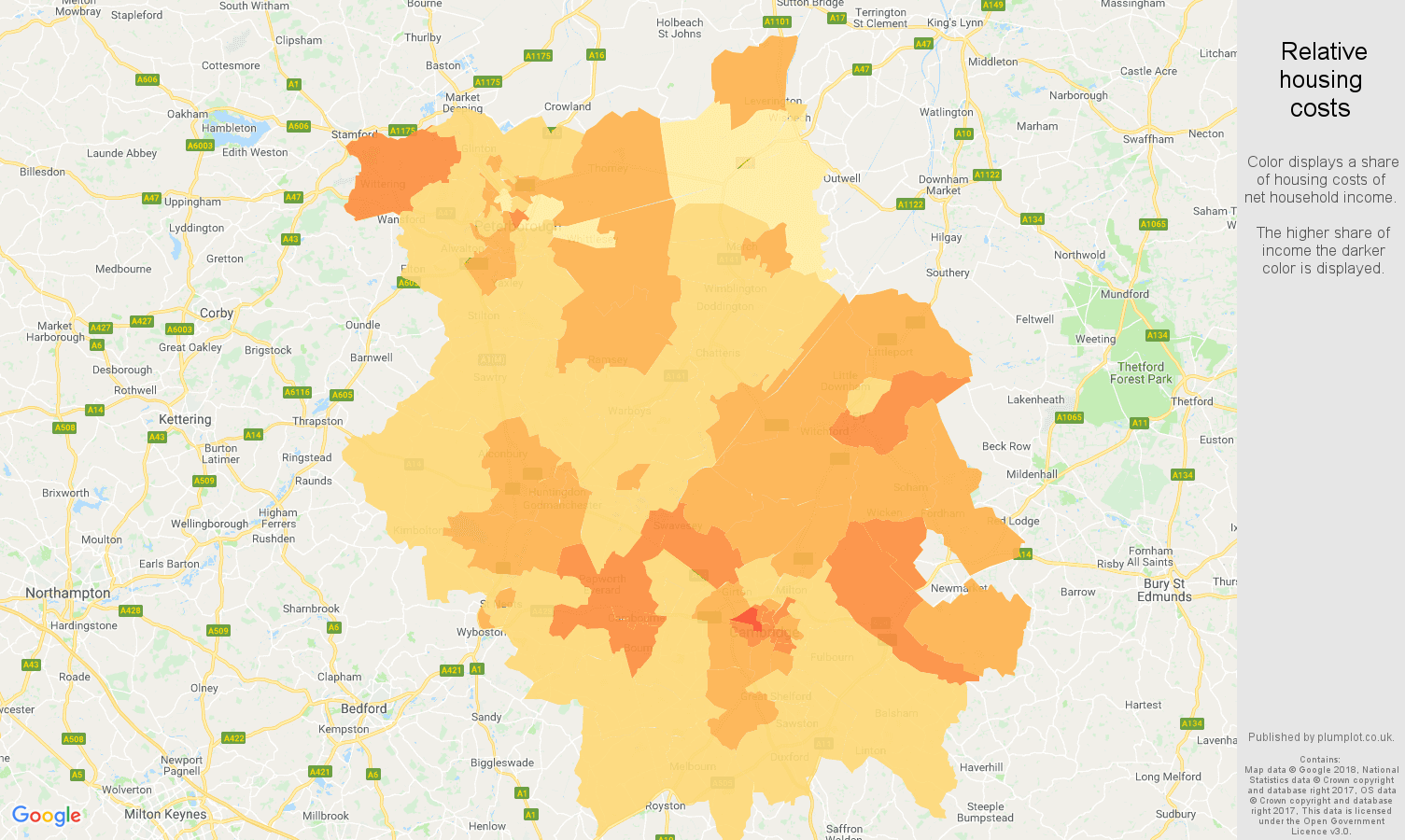 Cambridgeshire relative housing costs map