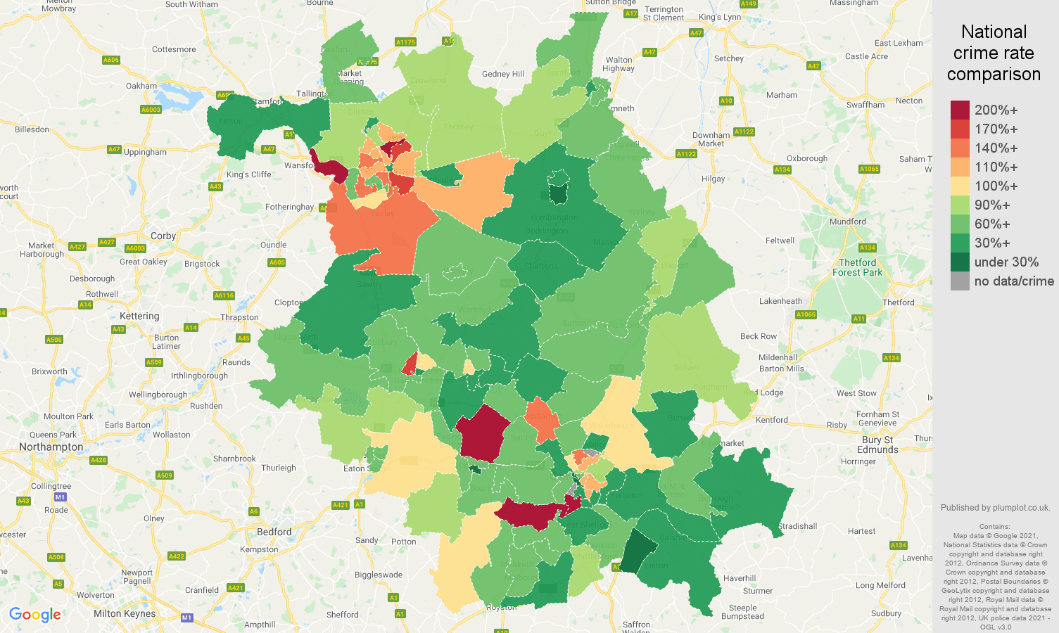 Cambridgeshire vehicle crime rate comparison map