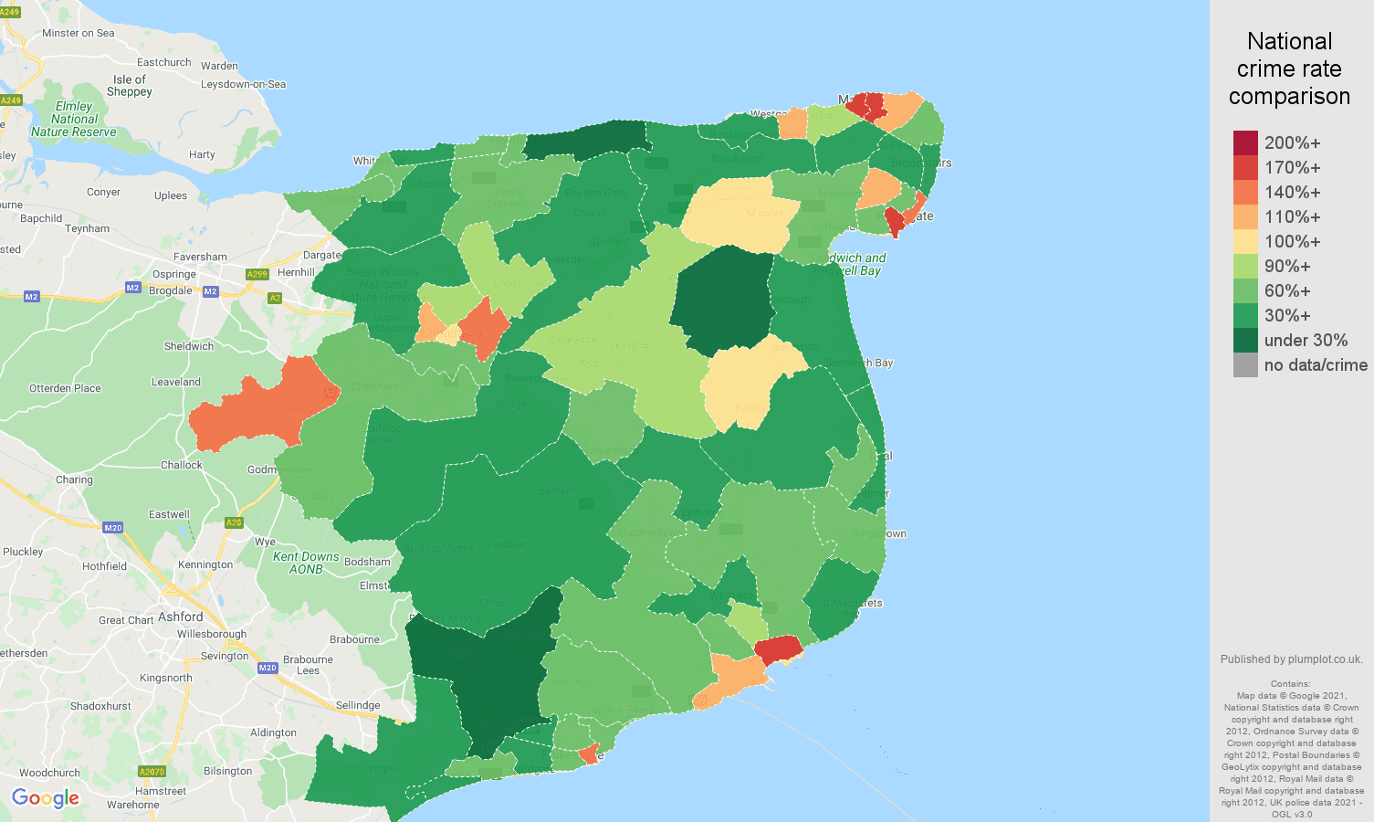 Canterbury burglary crime rate comparison map