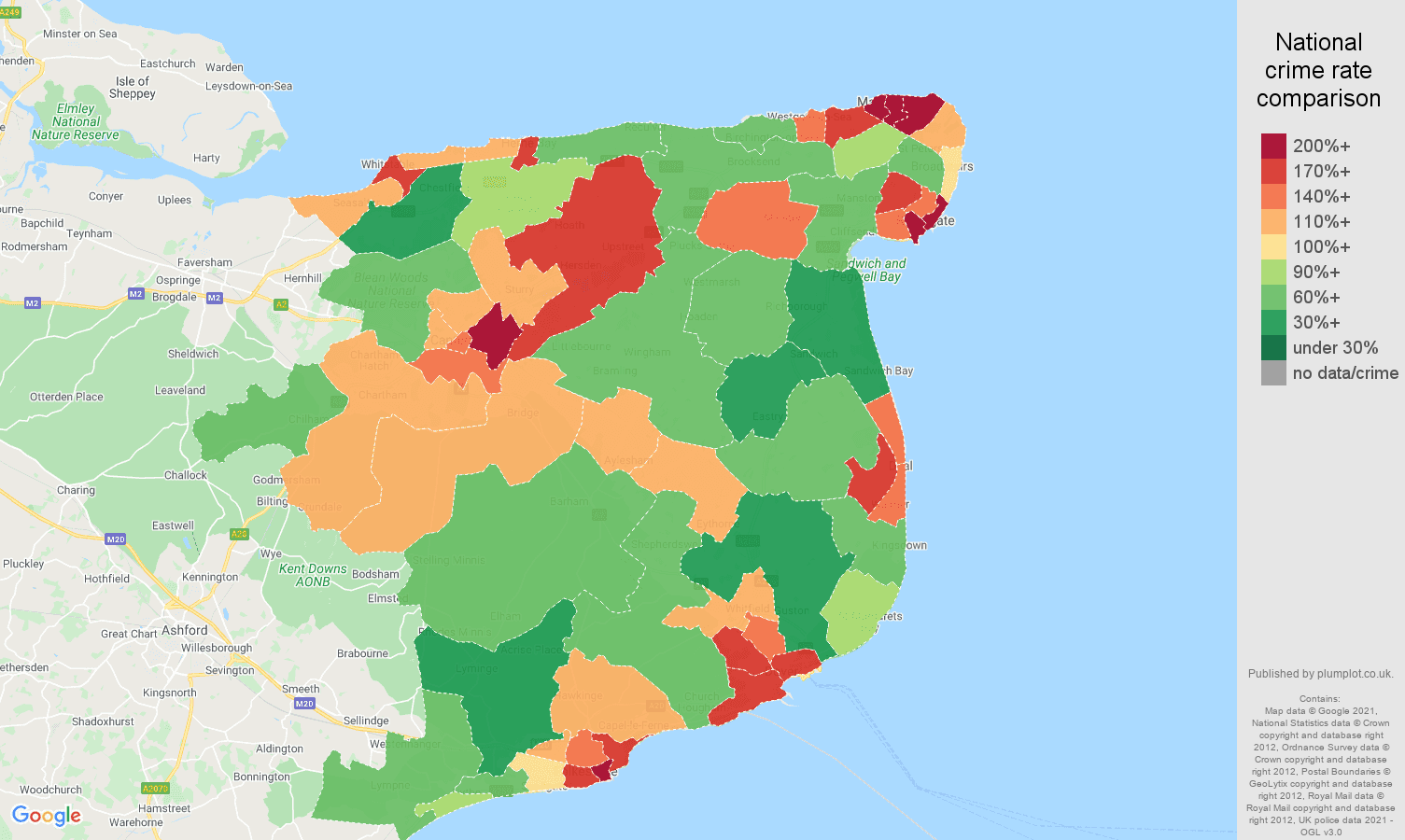 Canterbury criminal damage and arson crime rate comparison map