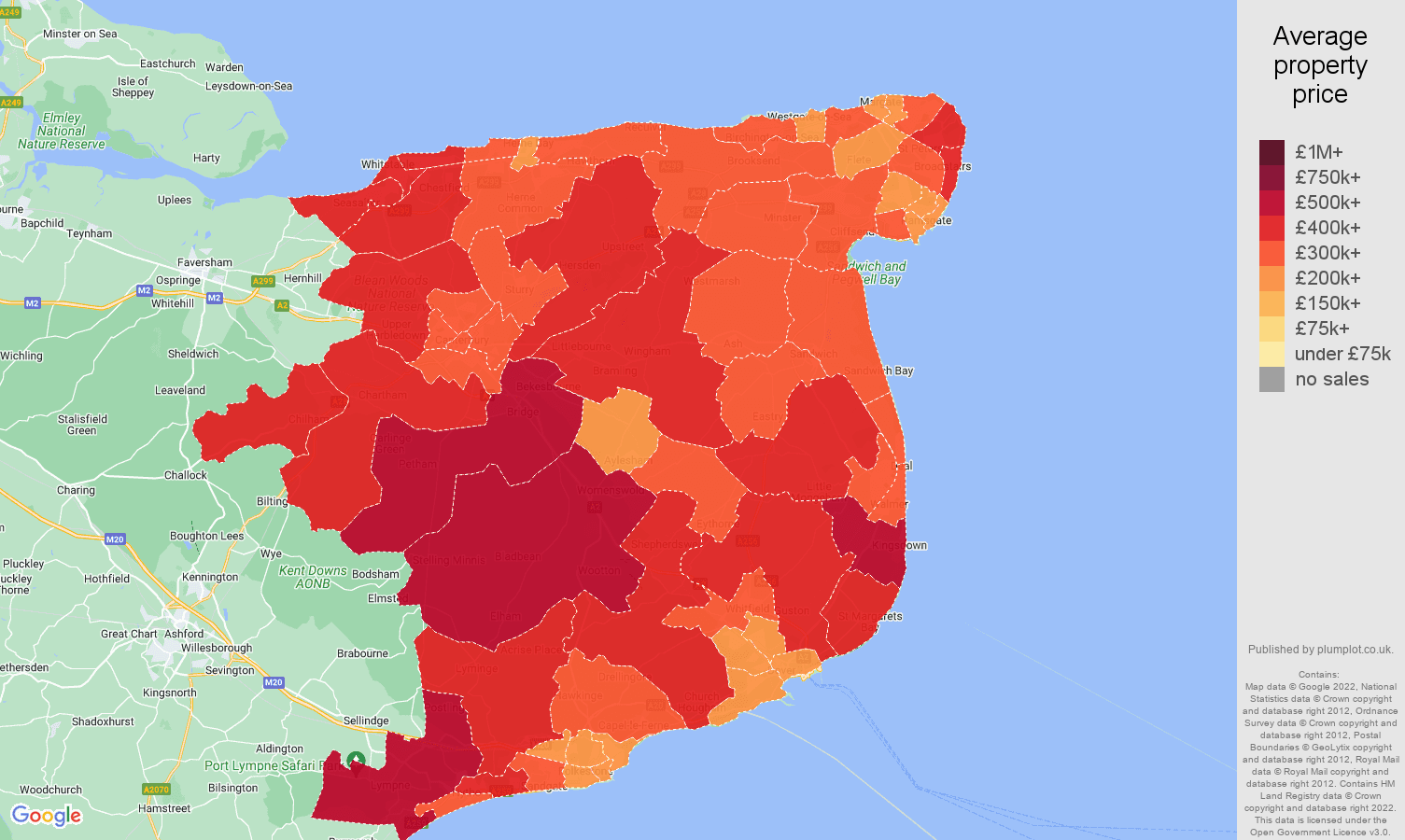 Canterbury house prices map