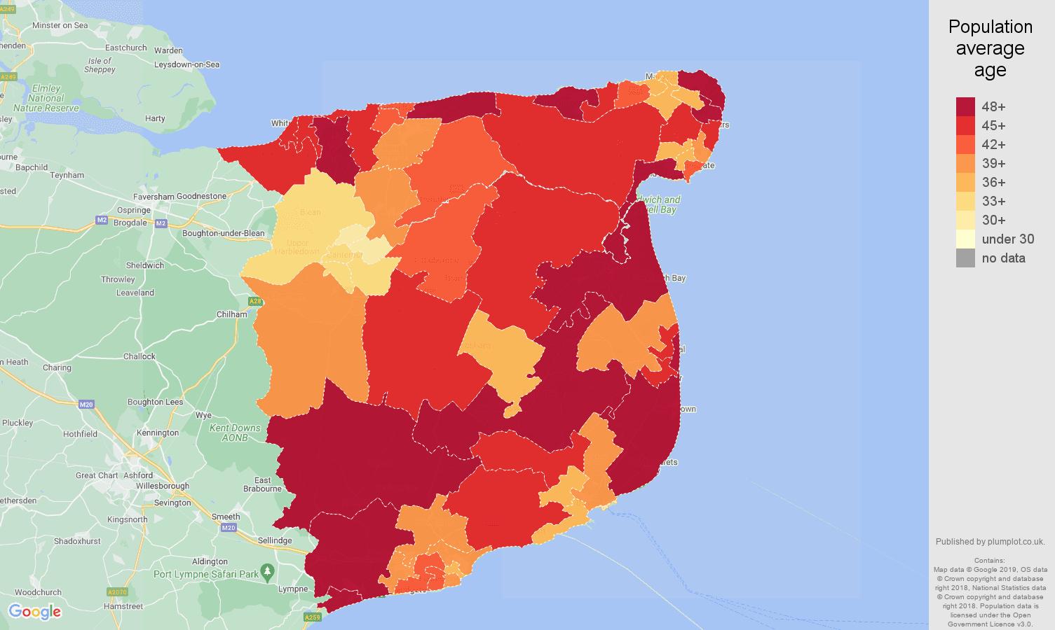 Canterbury population average age map