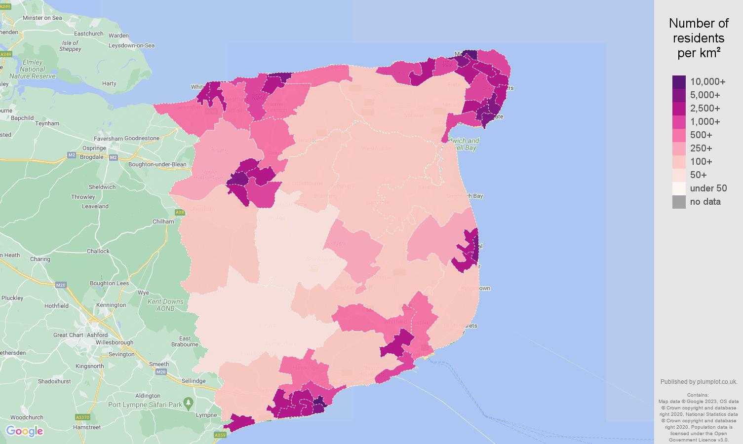Canterbury population density map