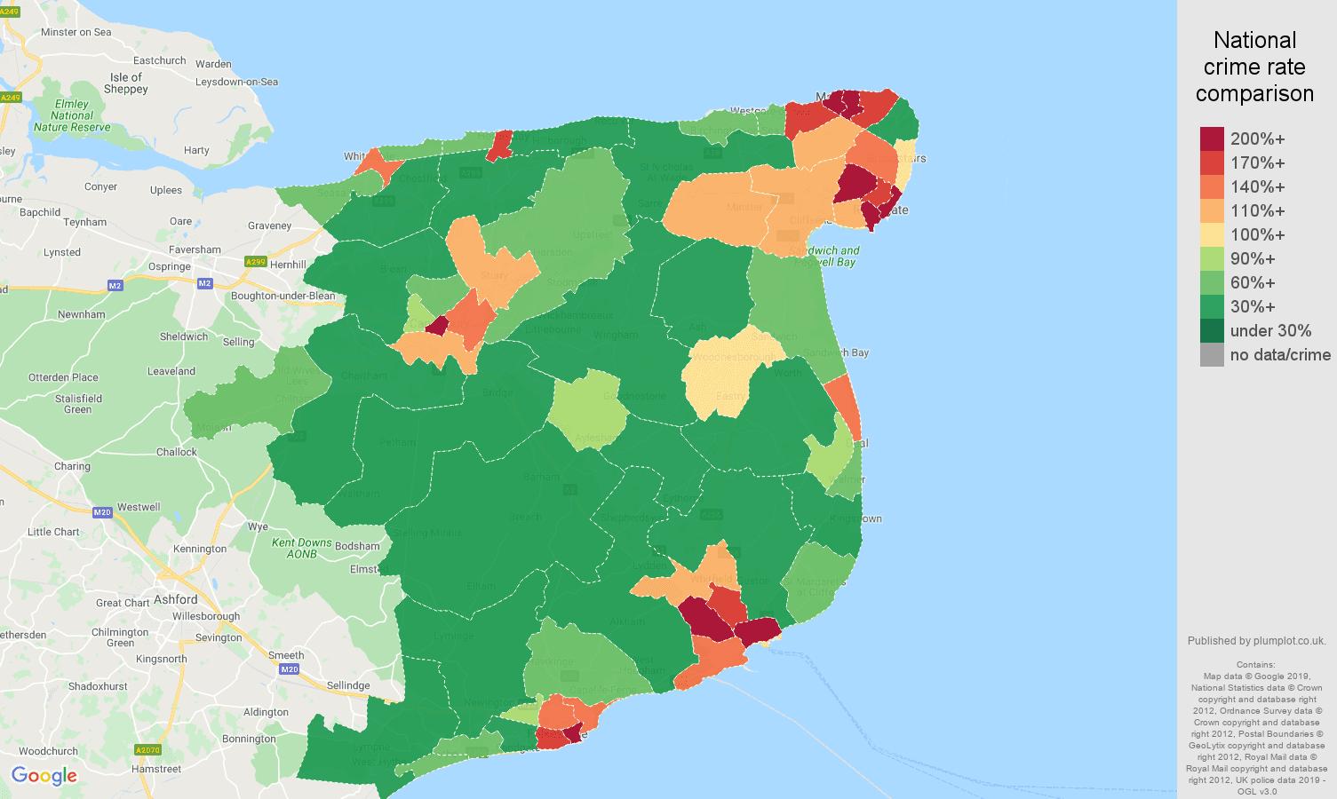 Canterbury public order crime rate comparison map