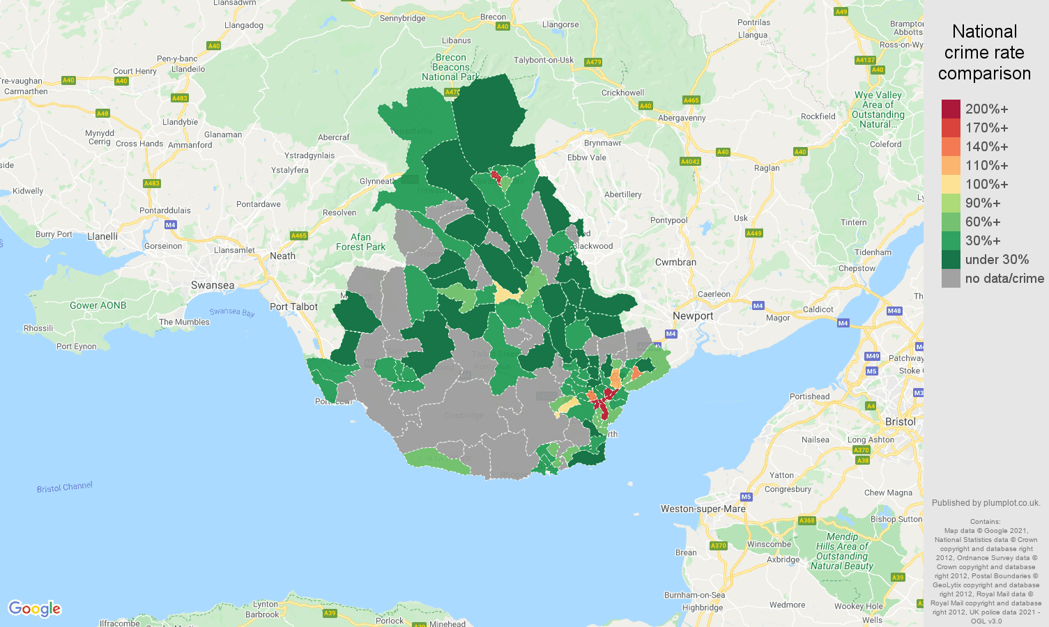 Cardiff theft from the person crime rate comparison map