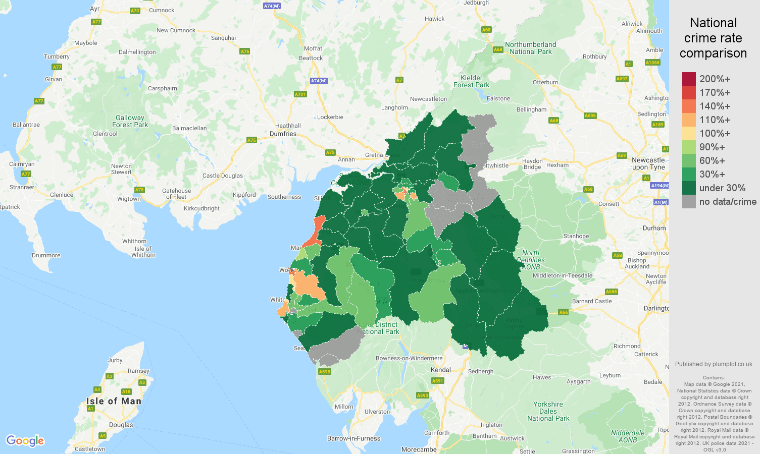 Carlisle drugs crime rate comparison map