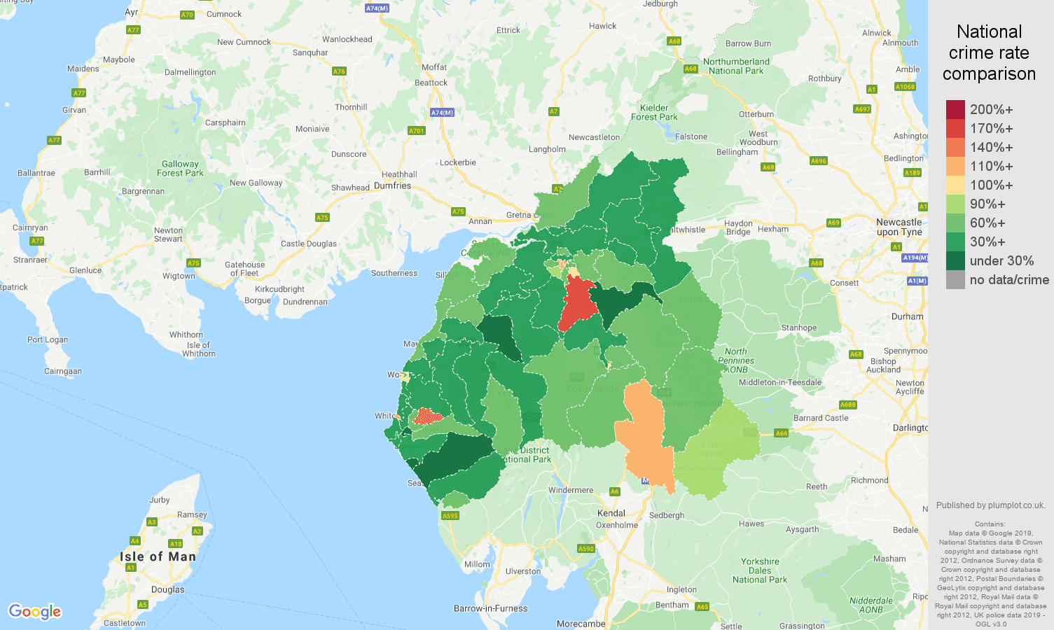 Carlisle other theft crime rate comparison map