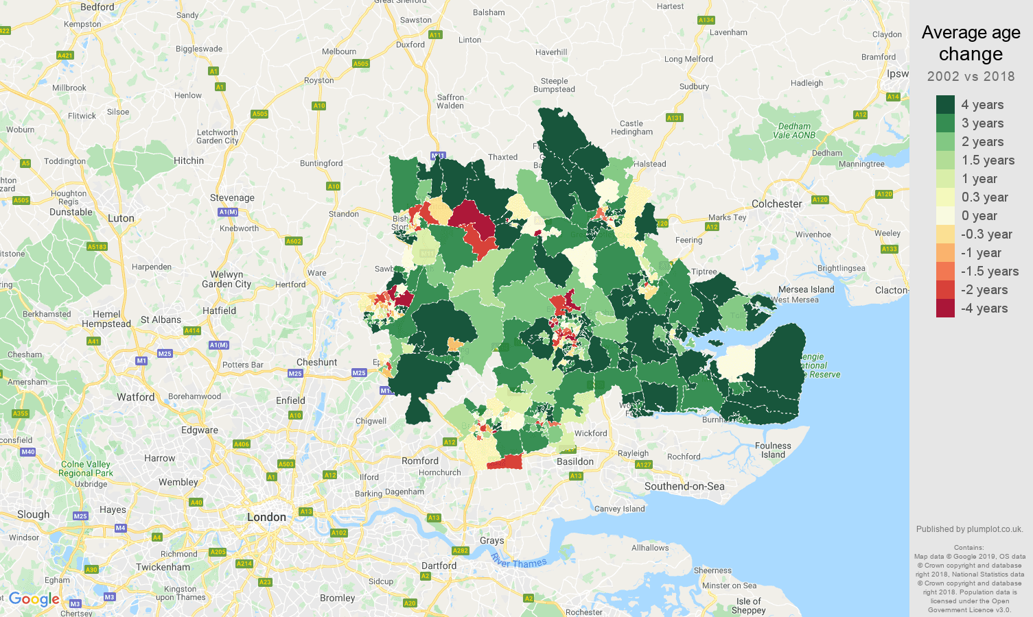Chelmsford average age change map