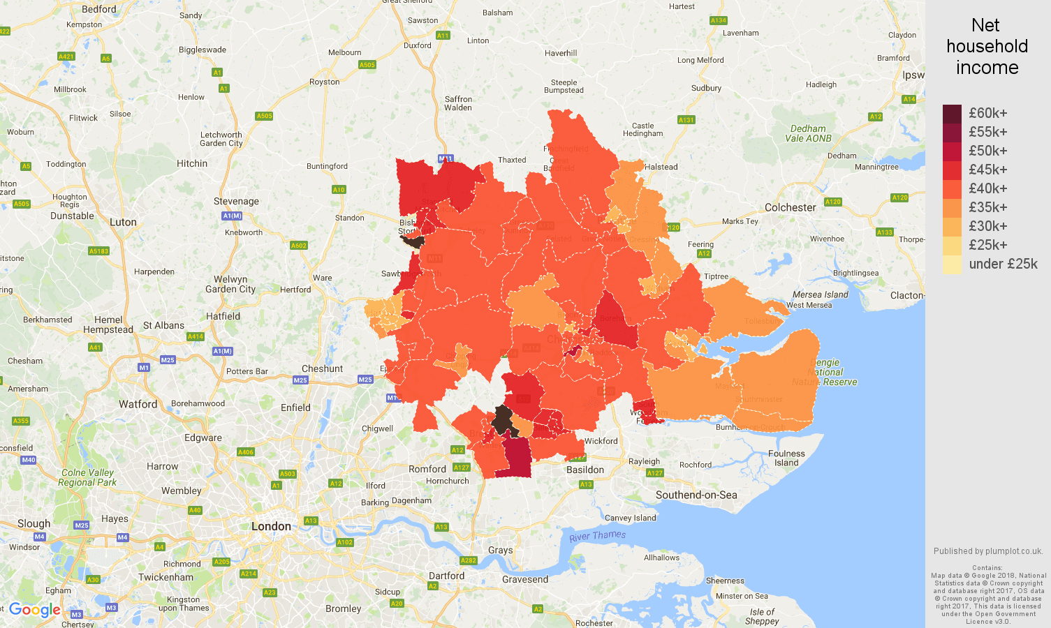 Chelmsford net household income map