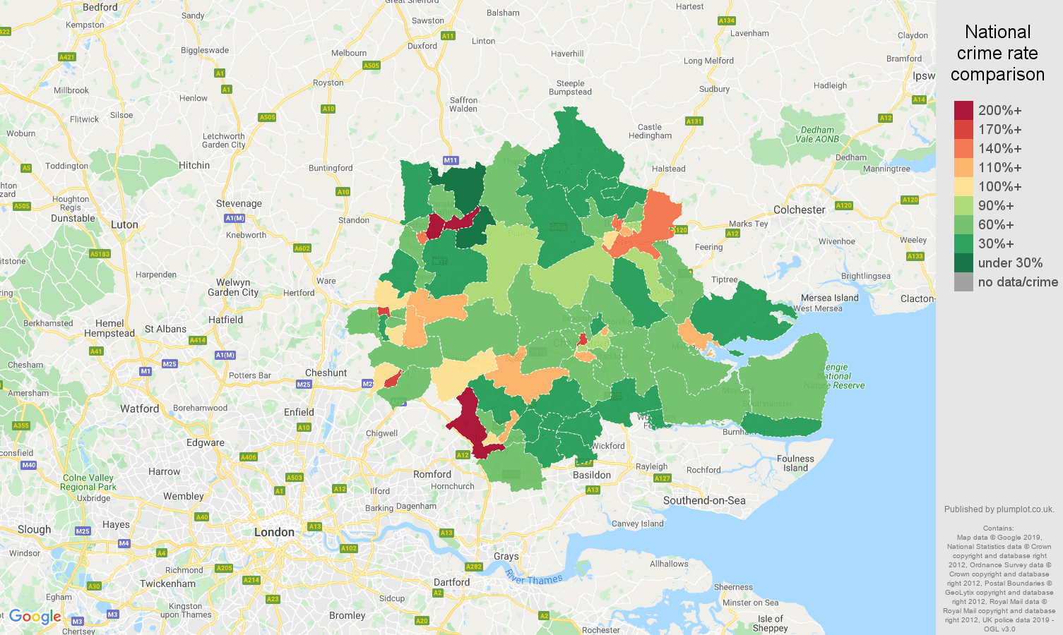 Chelmsford other theft crime rate comparison map