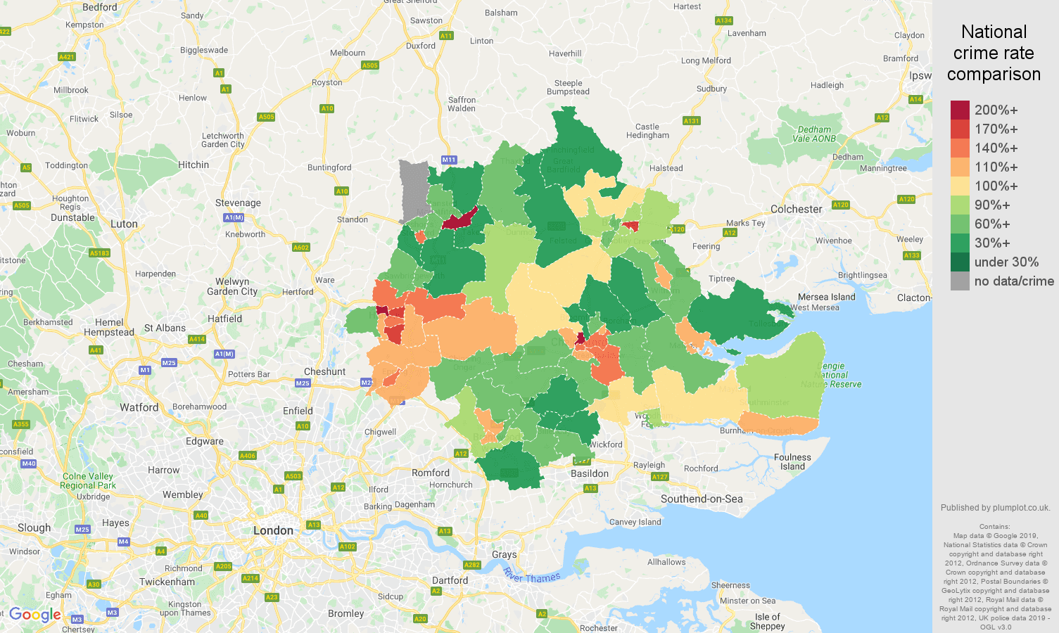 Chelmsford public order crime rate comparison map