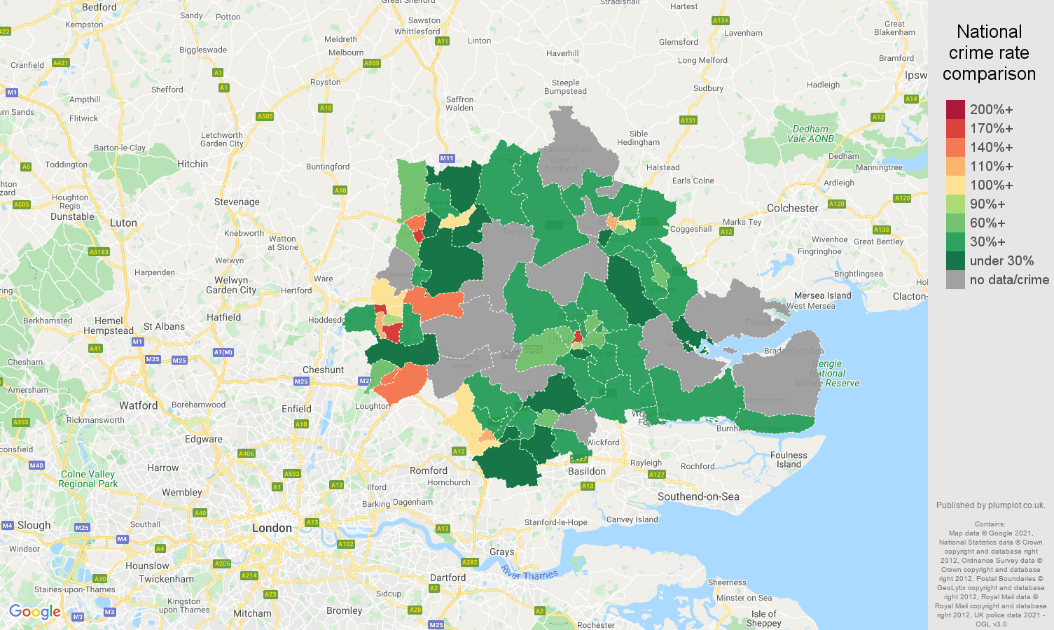 Chelmsford robbery crime rate comparison map