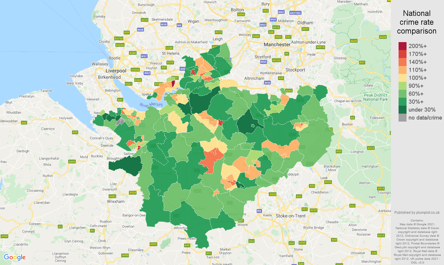 Cheshire antisocial behaviour crime rate comparison map