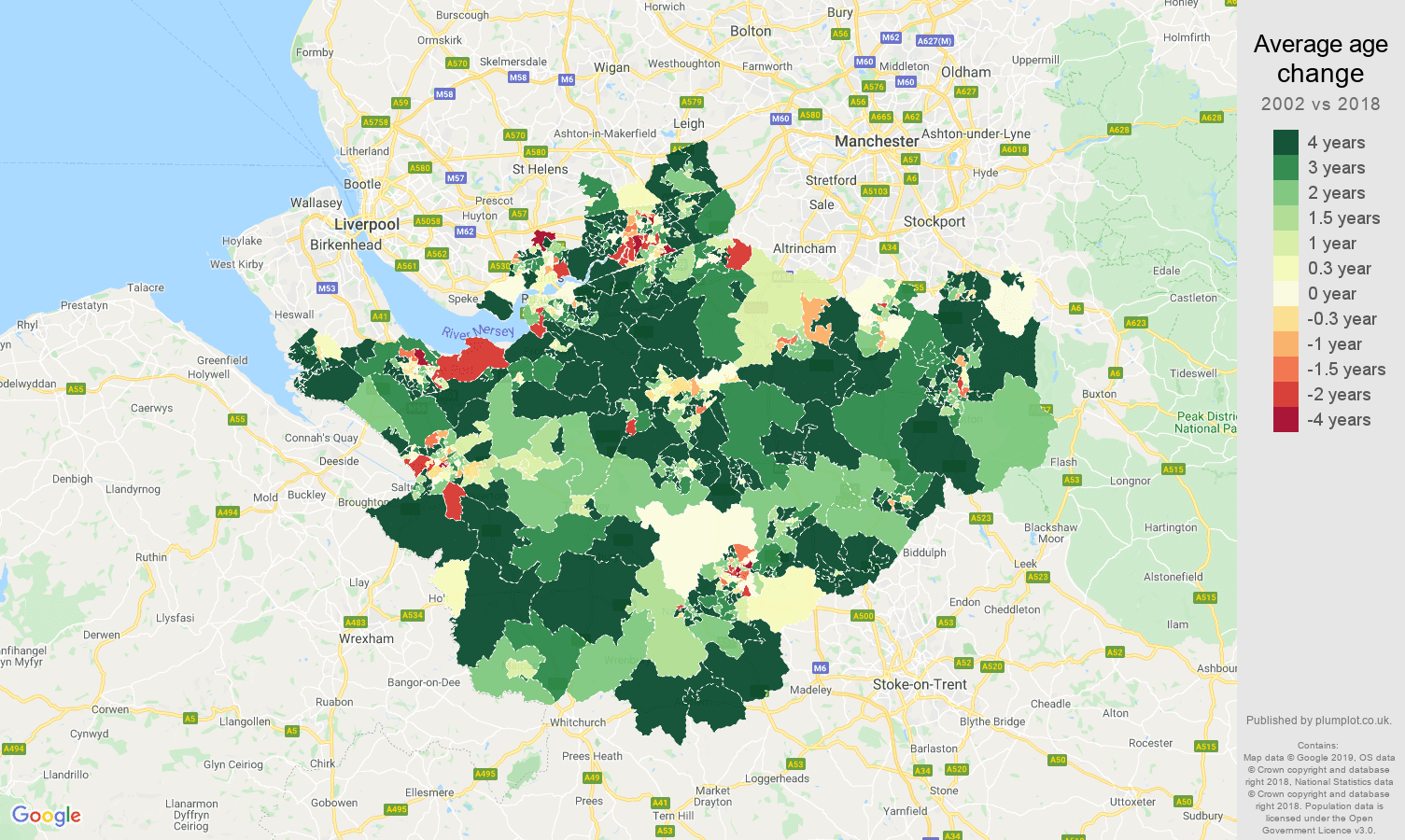 Cheshire average age change map