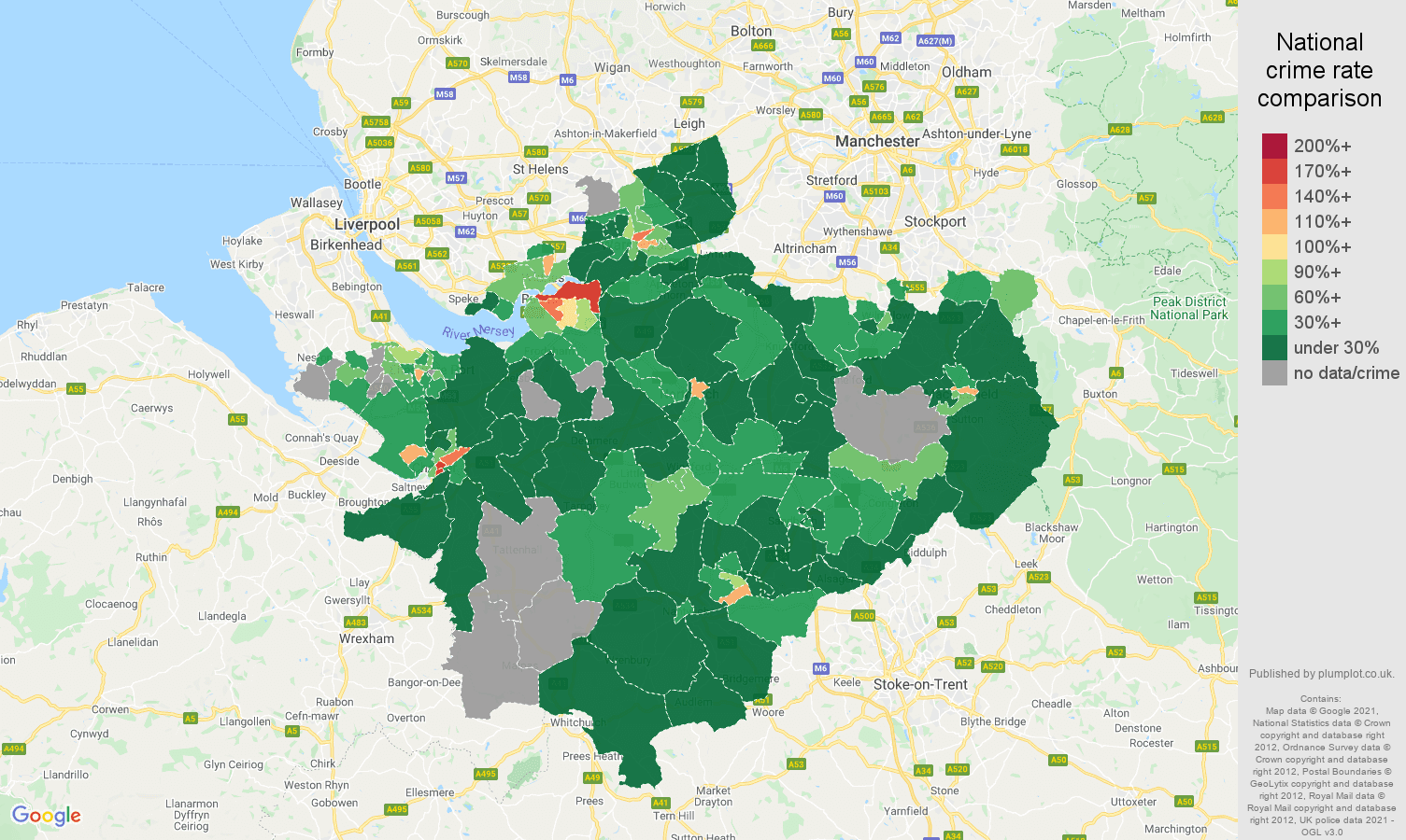 Cheshire drugs crime rate comparison map