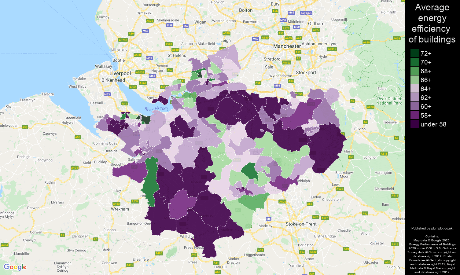 Cheshire map of energy efficiency of houses
