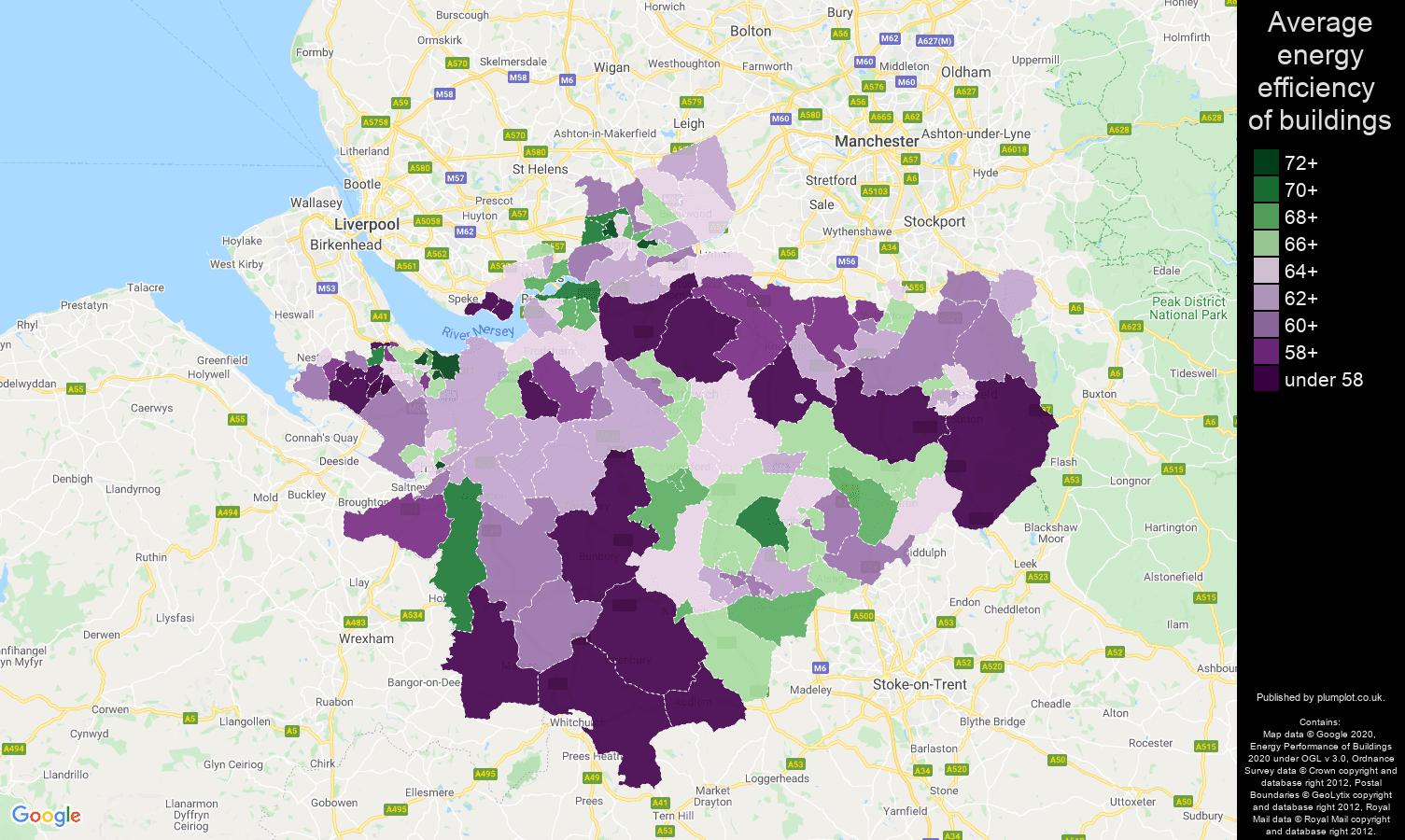 Cheshire map of energy efficiency of properties