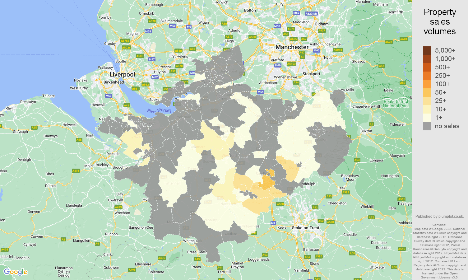 Cheshire map of sales of new properties