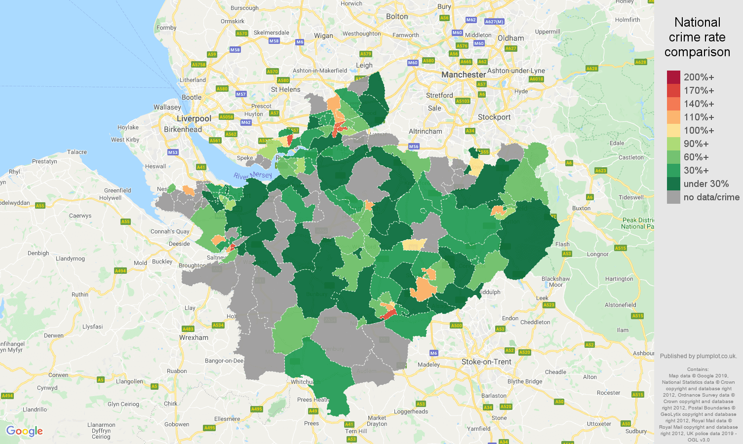Cheshire possession of weapons crime rate comparison map