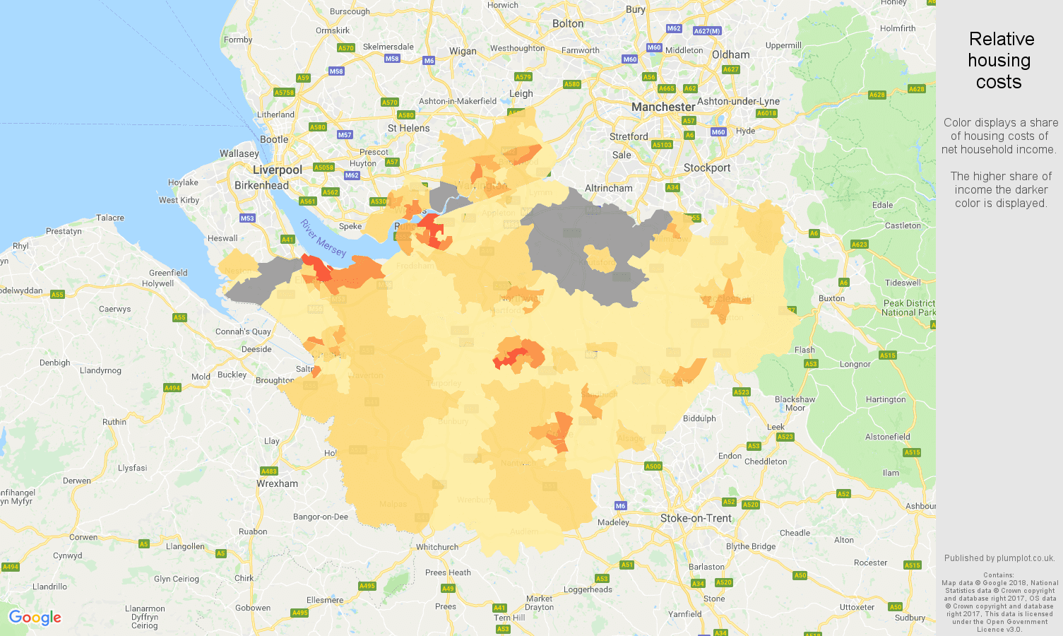 Cheshire relative housing costs map
