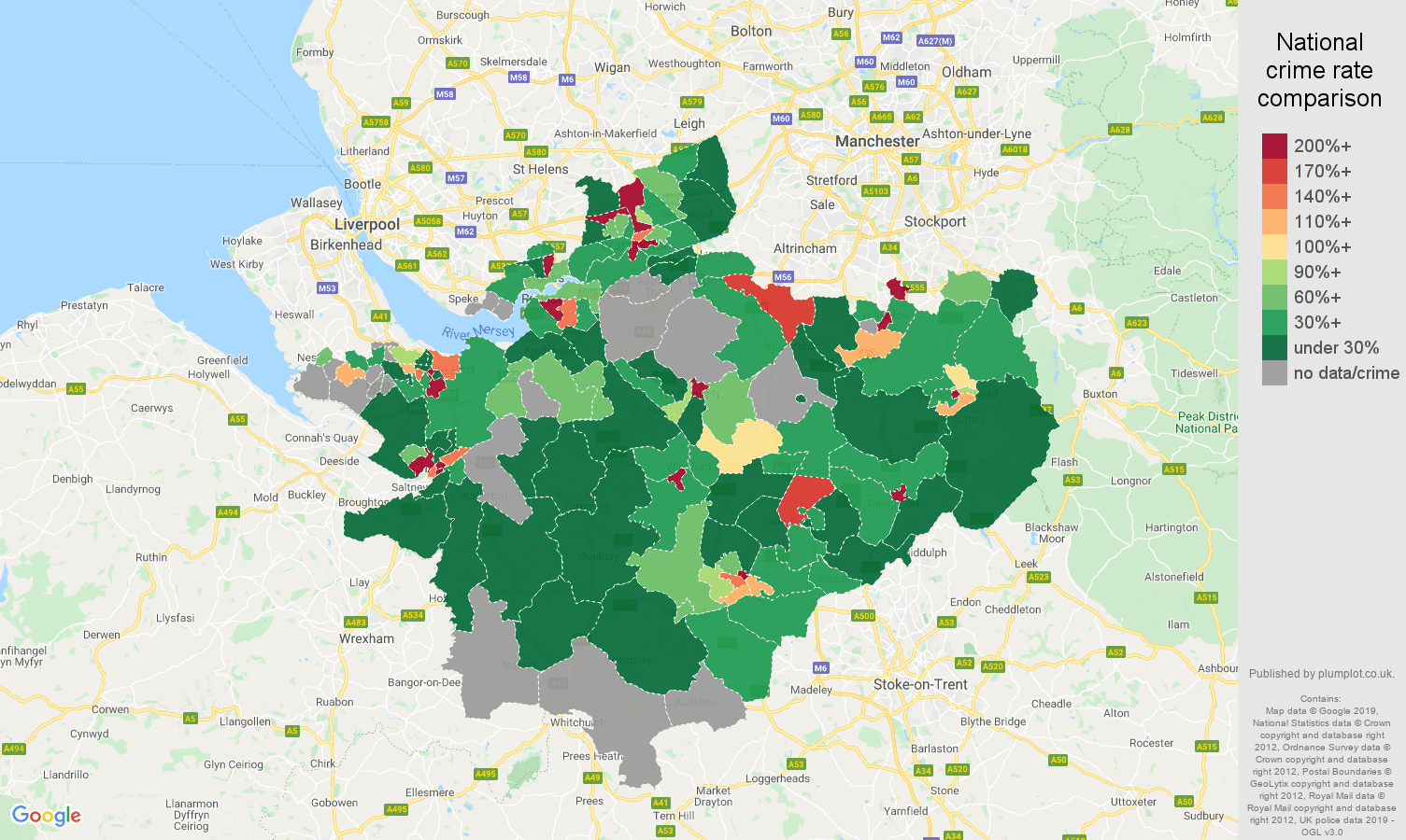 Cheshire shoplifting crime rate comparison map
