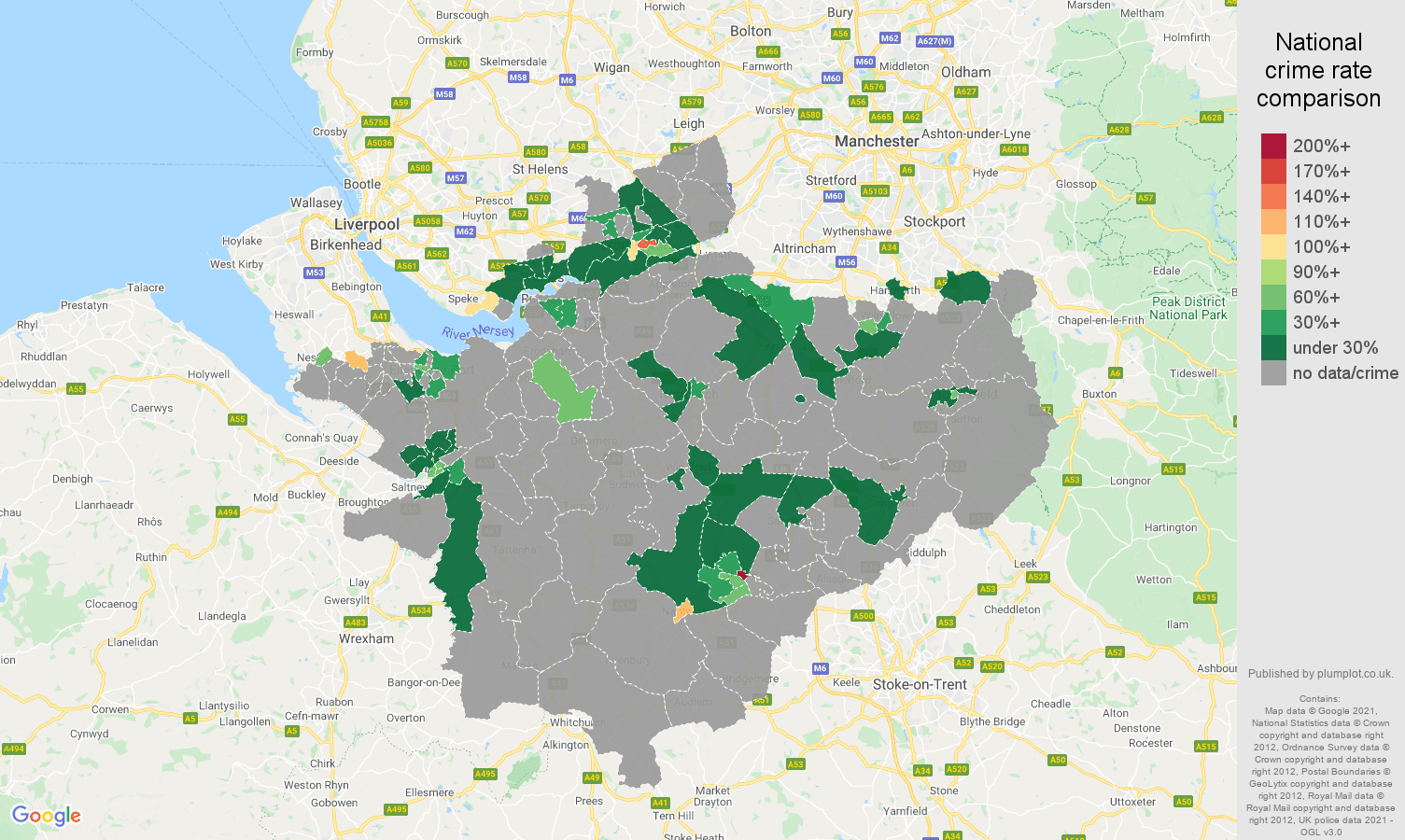 Cheshire theft from the person crime rate comparison map