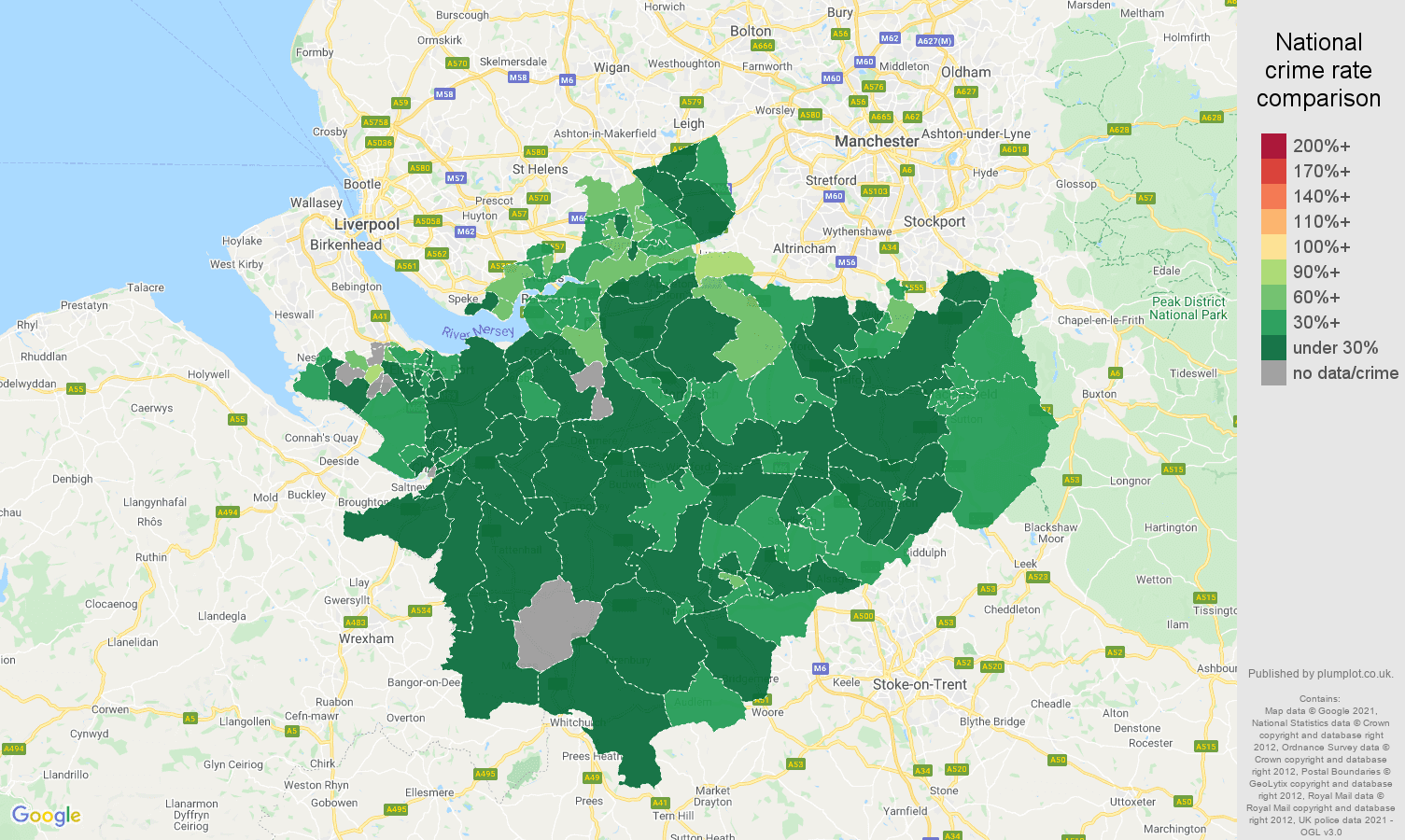 Cheshire vehicle crime rate comparison map