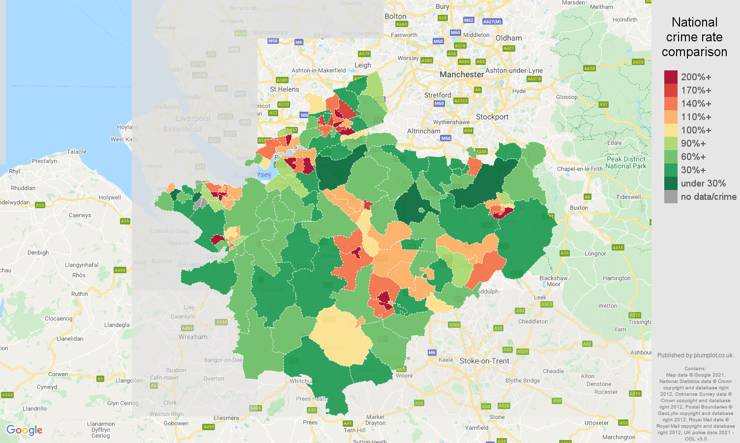 Cheshire violent crime rate comparison map