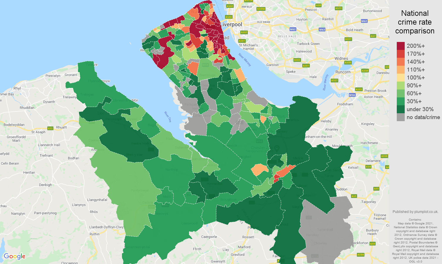 Chester drugs crime rate comparison map