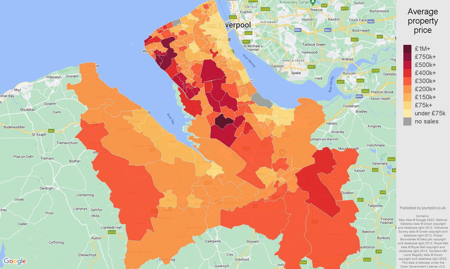 Chester house prices map