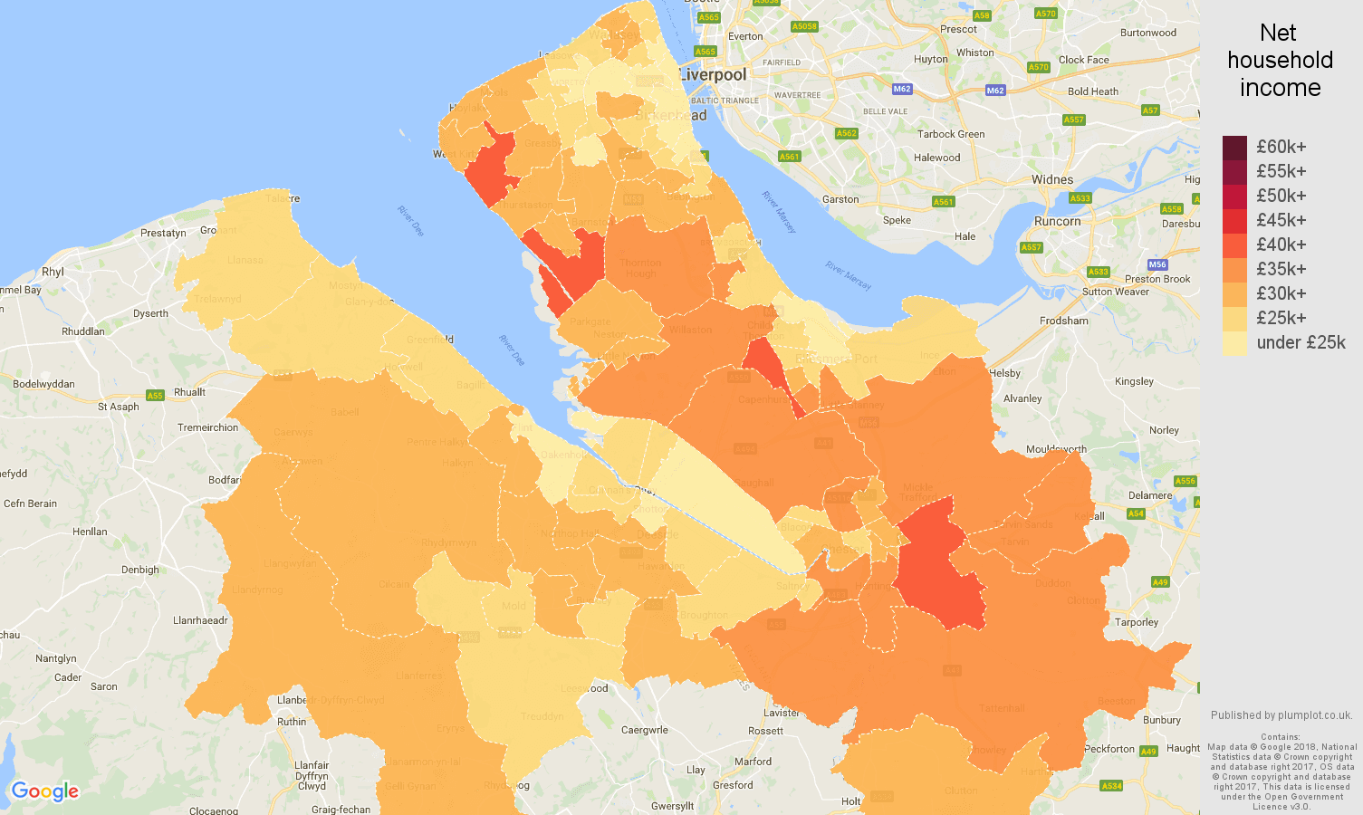 Chester net household income map