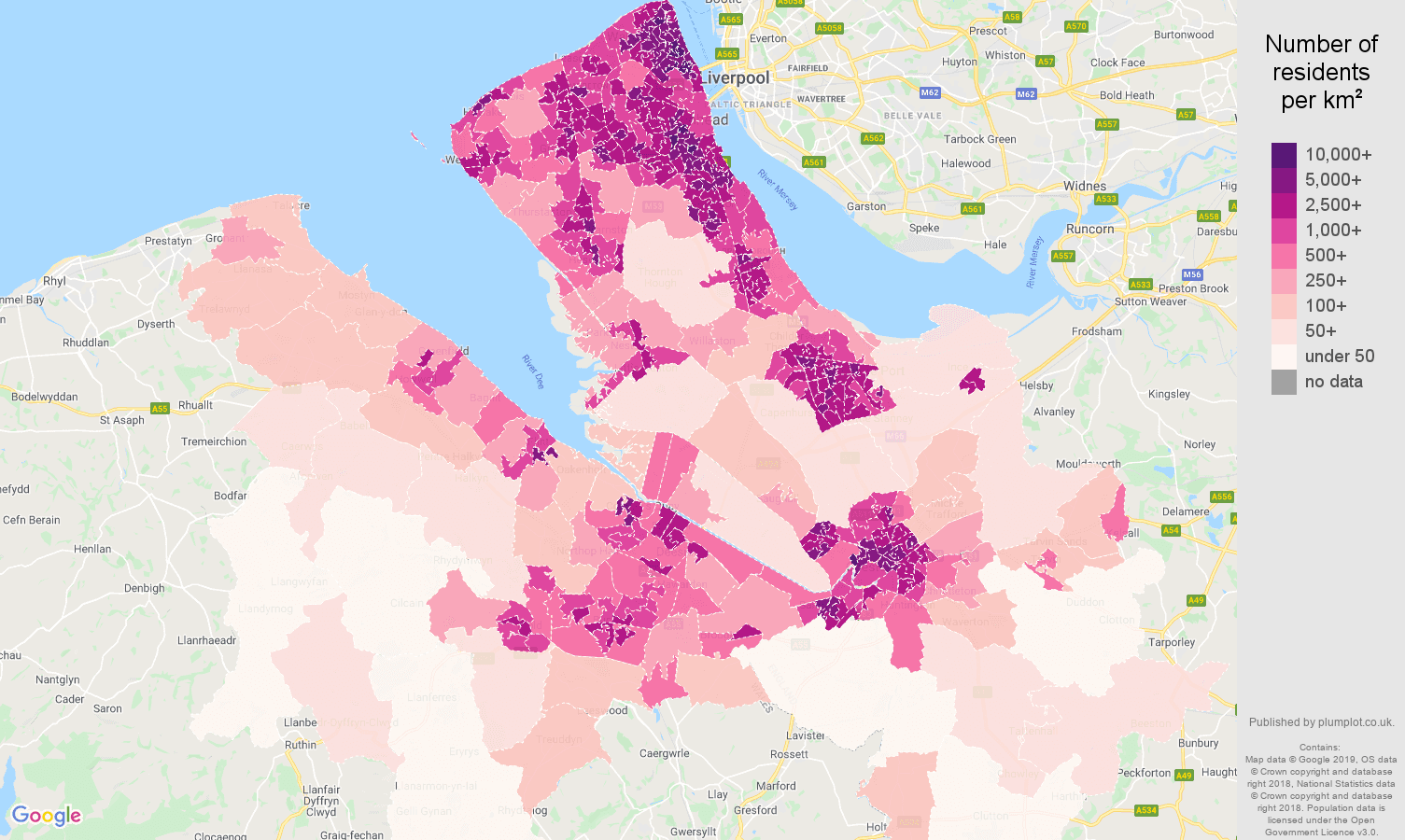 Chester population density map