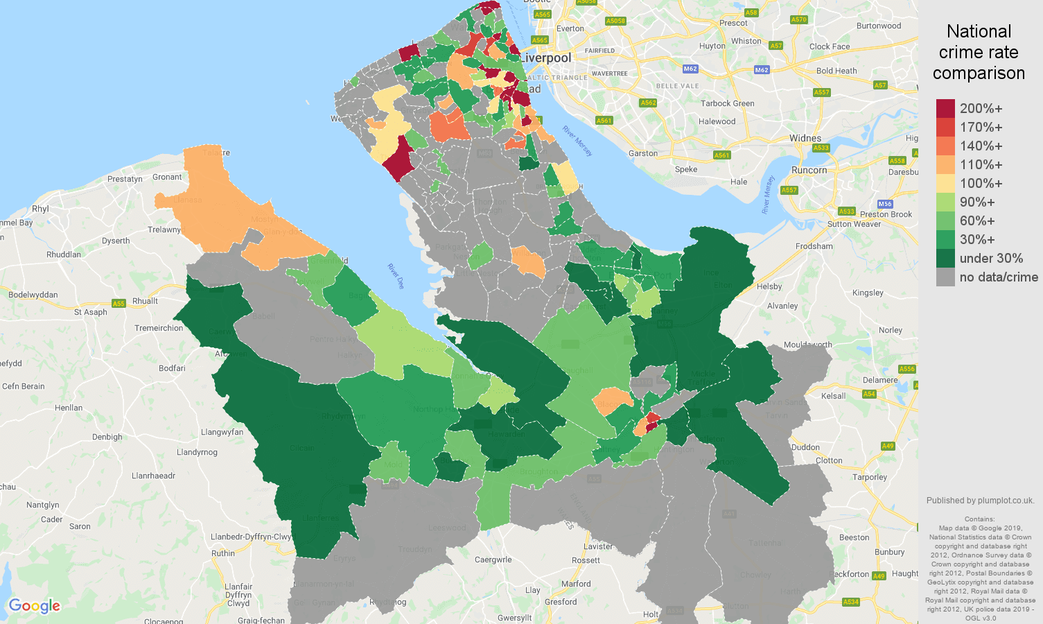 Chester possession of weapons crime rate comparison map