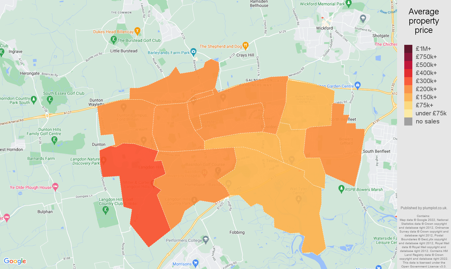 Basildon house prices map
