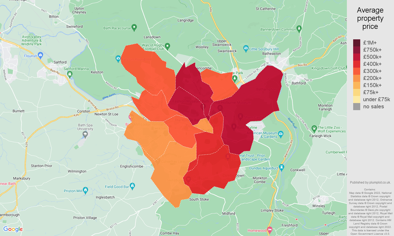 Bath house prices map