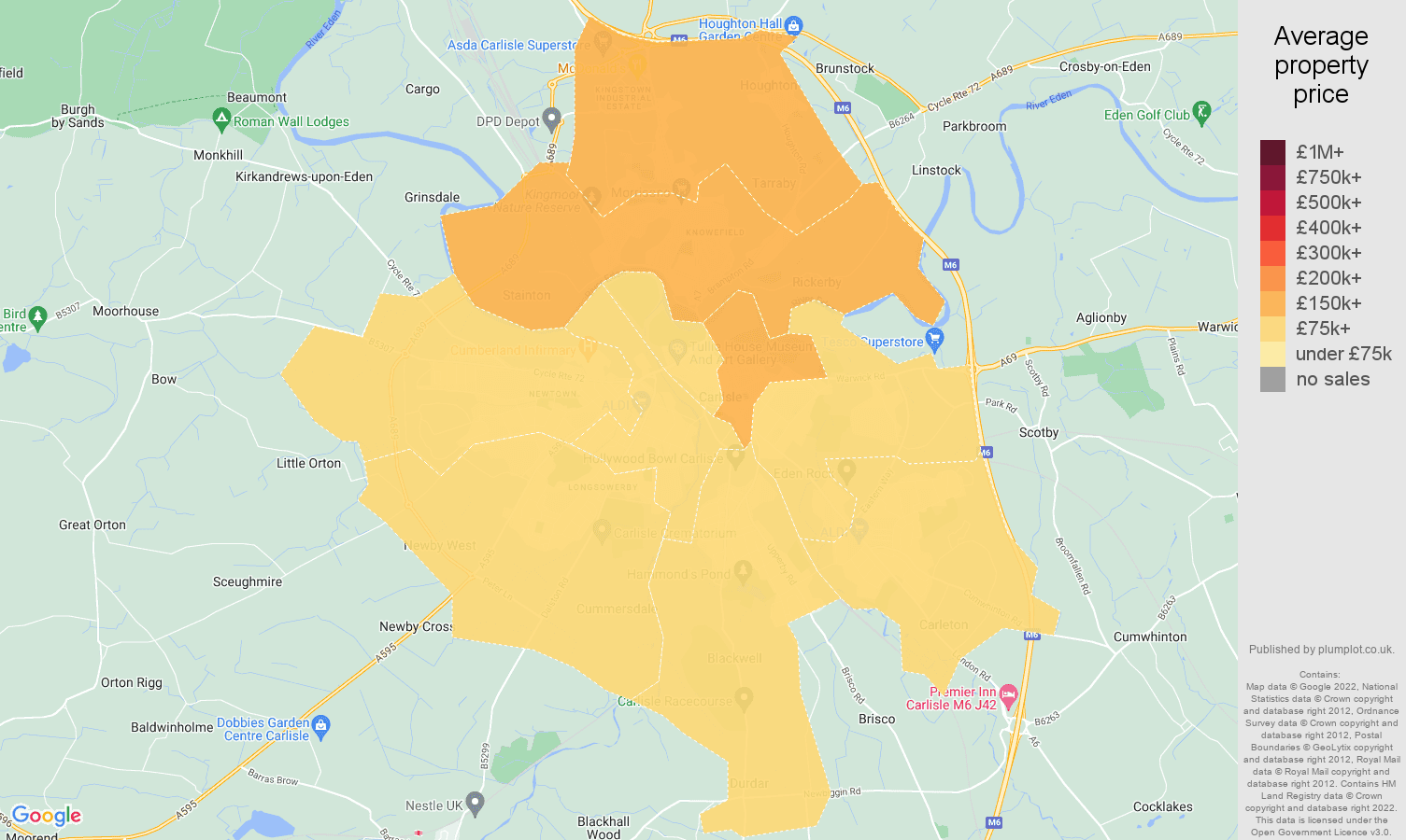 Carlisle house prices map