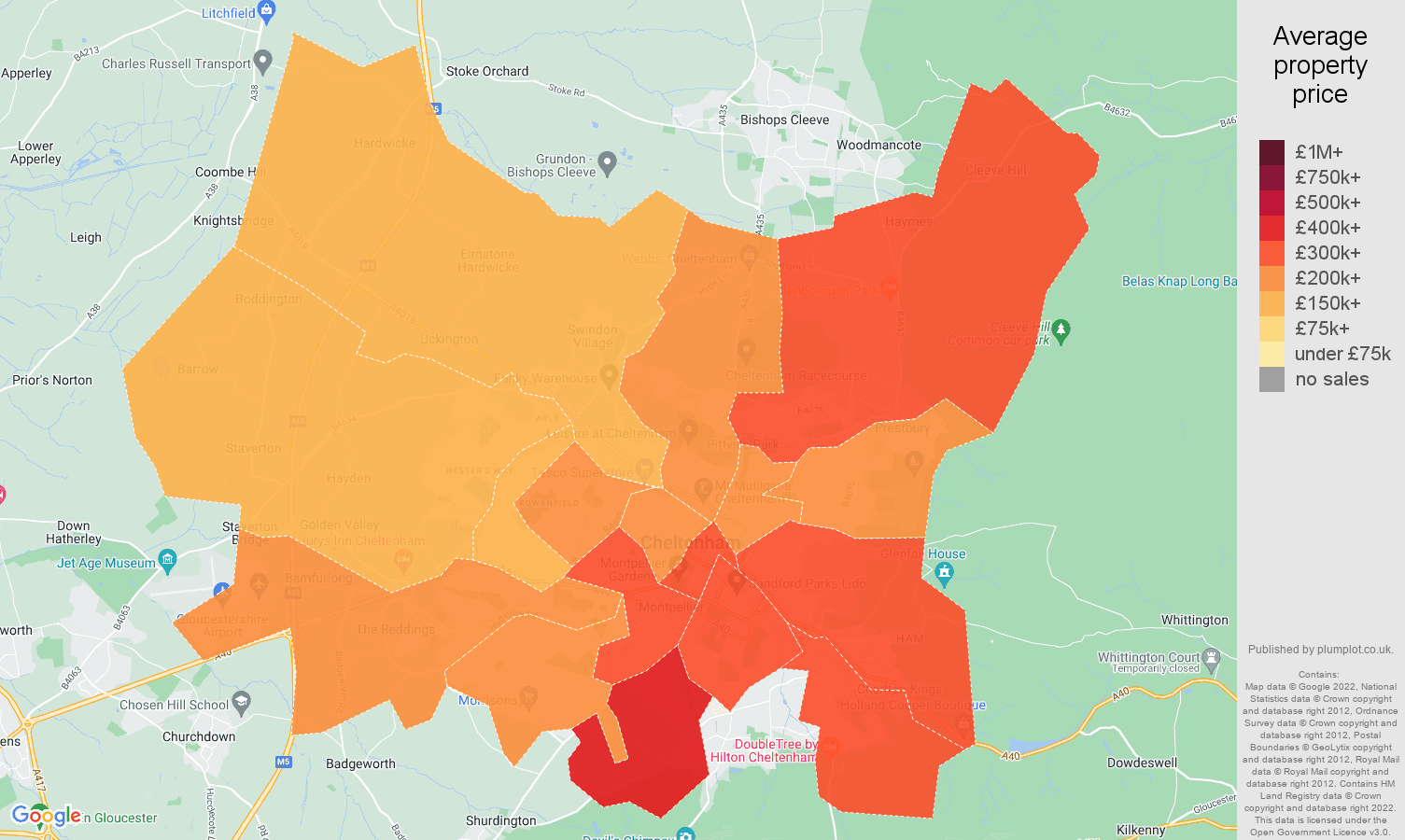 Cheltenham house prices map