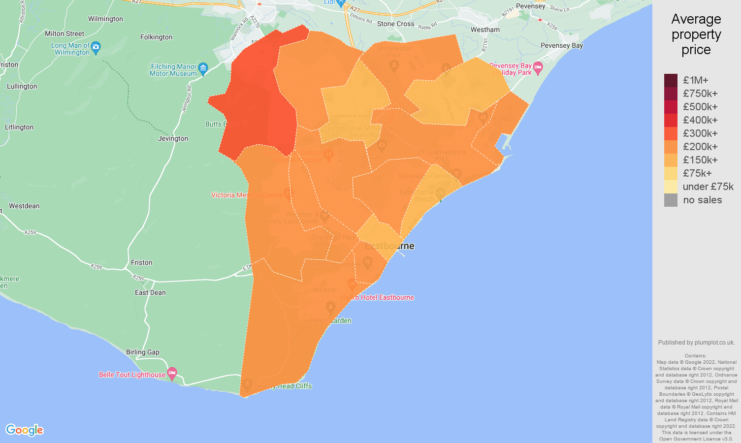 Eastbourne house prices map