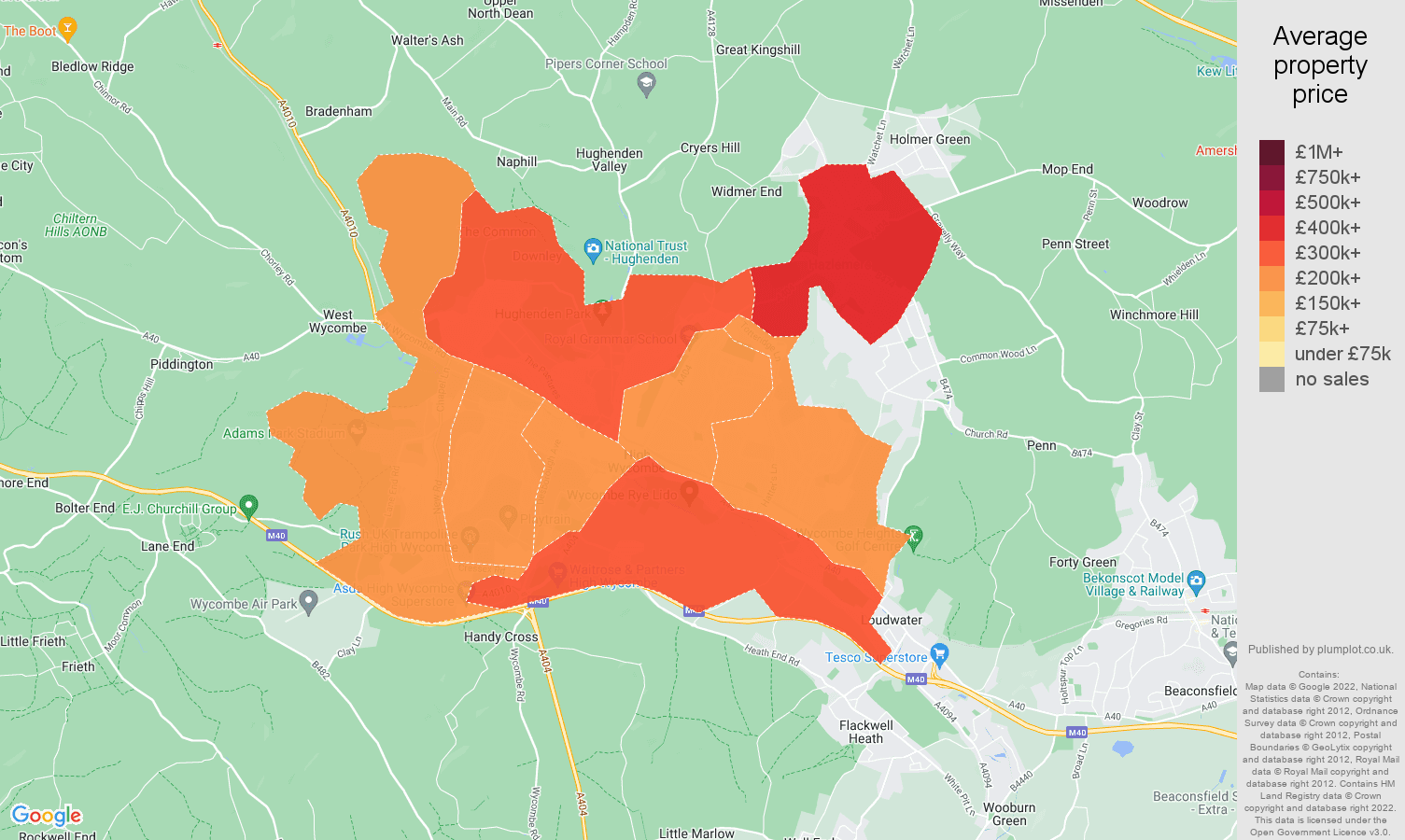 High Wycombe house prices map