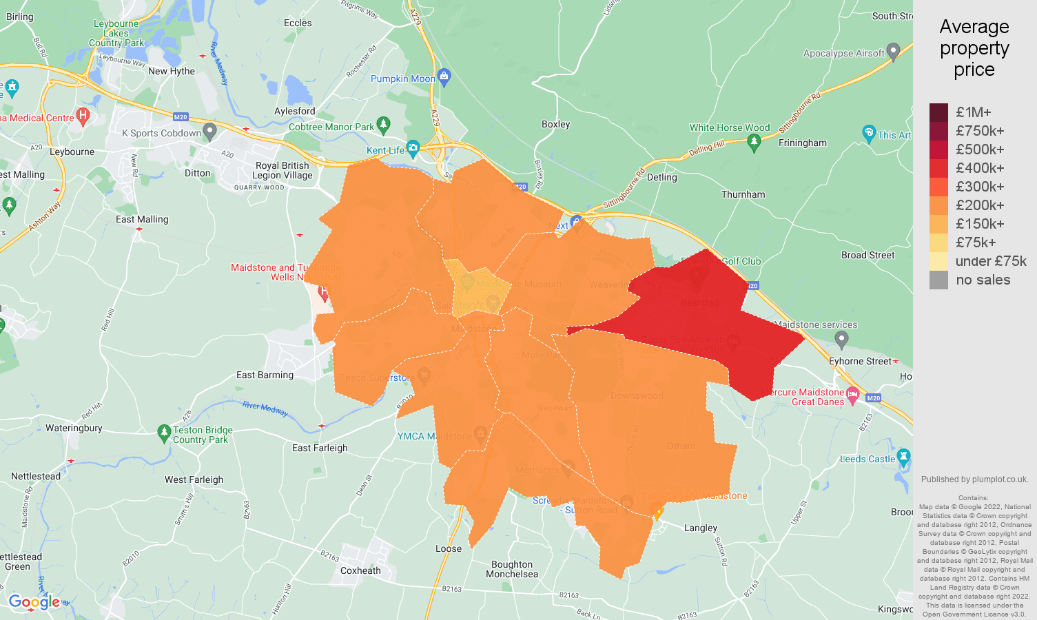 Maidstone house prices map