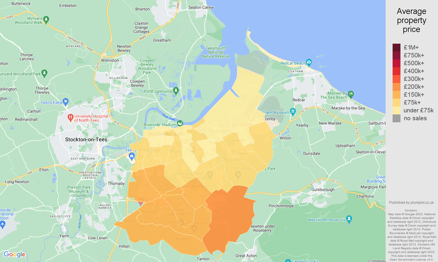 Middlesbrough house prices map