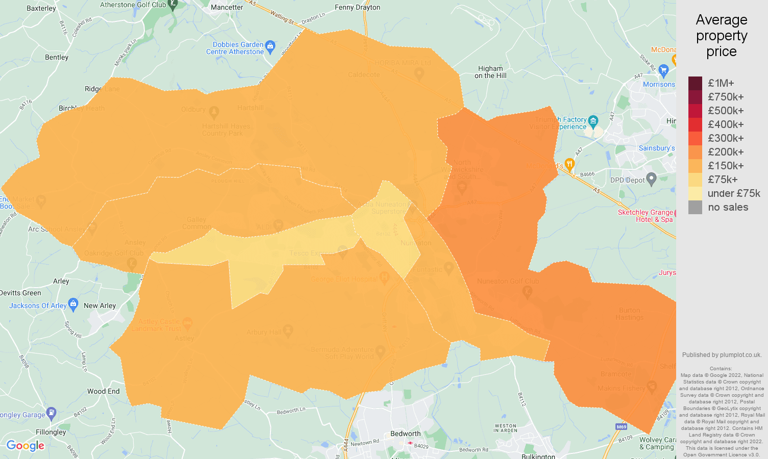 Nuneaton house prices map