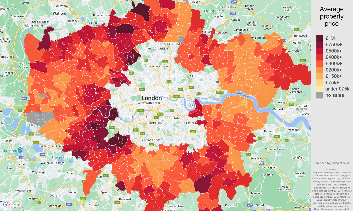 Outer London house prices map