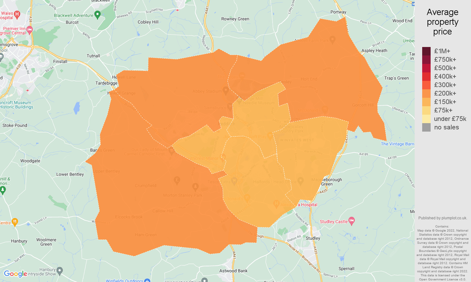 Redditch house prices map