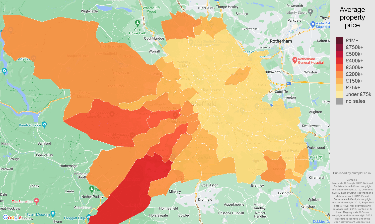 Sheffield house prices map
