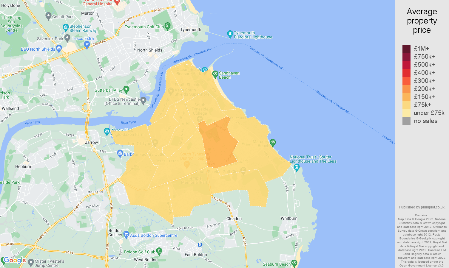 South Shields house prices map